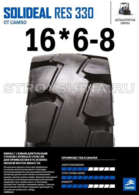 Шина гусматик 16*6-8 RES 330 Quick SOLIDEAL STANDARD