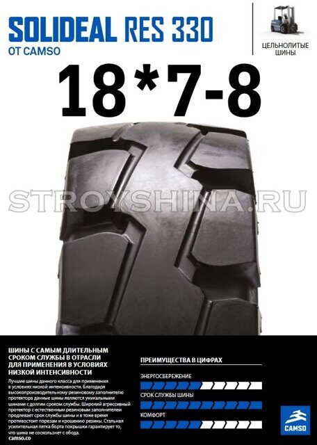 Шина гусматик 18*7-8 RES 330 SOLIDEAL STANDARD